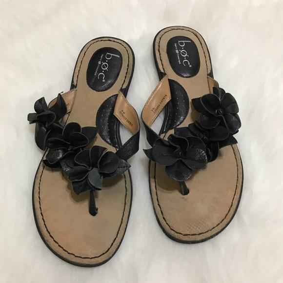 1c4889ab96cf b.o.c. Shoes - B.O.C. Born Leather Adney Flat Sandal Black Floral